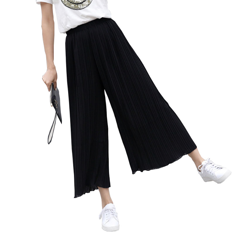 Bottoms Open-Minded 2018 Hot Summer Female Wrinkle High Waist Pants Bell Bottom Thin Wide Legs Range Chiffon Loose Pants Sexy Korean Style Capris High Quality Women's Clothing