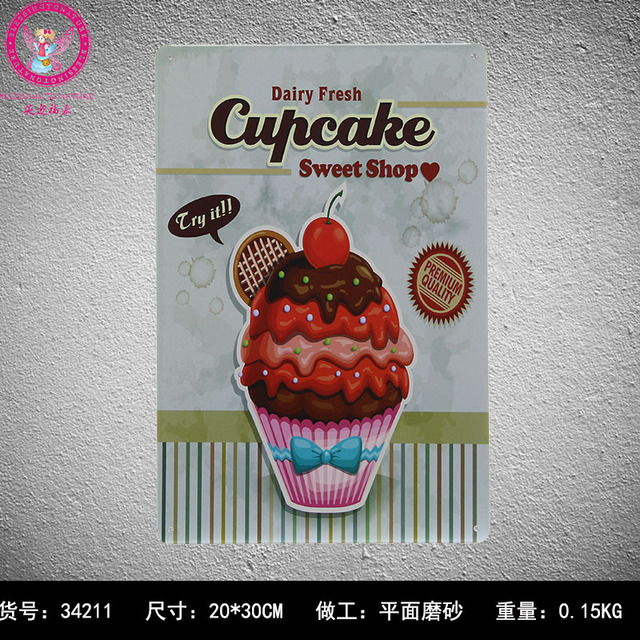 30X20CM Cup Cake Vintage Home Decor Tin Sign for Wall Decor Metal ...