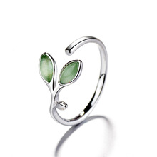 RE Hot sale opal green leaf opening rings for women silver jewelry anillos bijoux femme C30