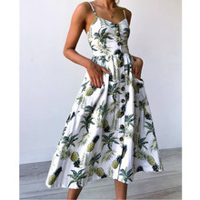 Dresses Summer 2018 Gowns De Verao Boho Clothing Fashion Gowns Dress Festa Tunics for Beach V Neck Button Dresses Big Sizes Sexy