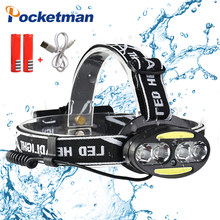Ultra Heldere Koplamp USB Koplamp 4 * T6 + 2 * COB + 2 * Rode LED Head Lamp Zaklamp fakkel Lanterna voor fietsen jacht(China)