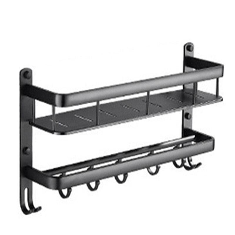 Bathroom Black Shelf Aluminum Shower Caddy Corner Shelf Towel Rack With Bar Hook Hair Dryer Holder|Storage Shelves & Racks|Home & Garden - title=