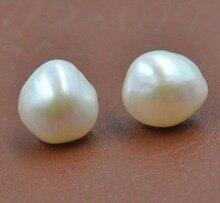 2017 Newly Baroque 11-12mm white Genuine Pearl women stud Earrings S925