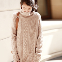 New Arrival Autumn And Winter 2018 Vintage Cable Knitted Turtleneck Long Goat Wool Cashmere Sweater Dress Women