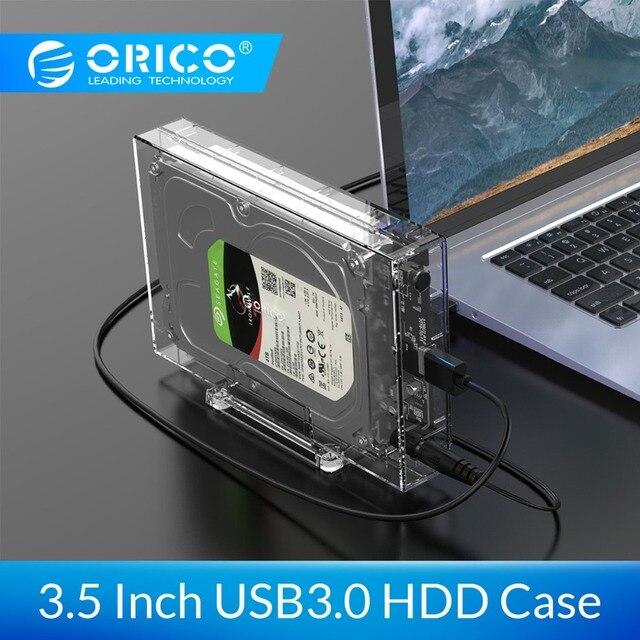 Carcasa de disco duro transparente ORICO 3,5 pulgadas SATA a USB 3,0 HDD con soporte 12TB Max