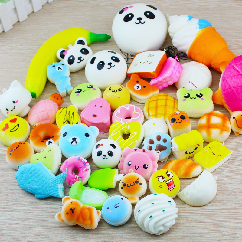 30 Pcs/Pack Squishy Toy Slow Rising Bread Cake Cream Bun Pendant Donut Charm Antistress Stretchy Squeeze Toy Cream Random Styles jumbo squishy cute glasses bear scented charm super slow rising squeeze toy