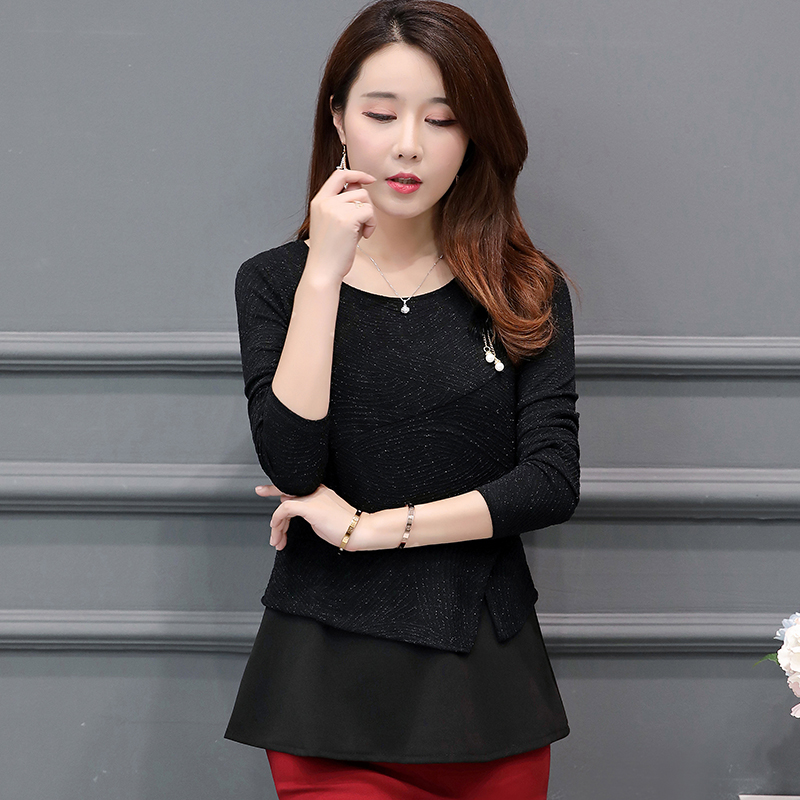 Plus Size L-5XL Womens Tops and Blouses Elegant Long Sleeve Fake Two Pieces Blouse Woman Shirts Tunic Ladies Tops Camisas Mujer 3