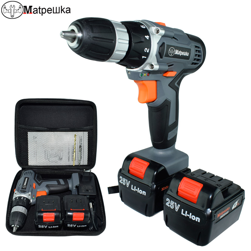 25V Drill household cordless drill multifunctional electric screwdriver rechargeable 2 battery electric font b power b