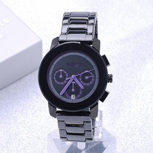 Really Genuine  Brand New Black Steel Band Watch High Quality Multifunctional Six Pin Female Fashion Ladies Calendar Watches