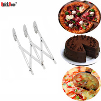 QuickDone 1Pc 3 Wheel Stainless Steel Pizza Cutter Mlutifunctional Durable Pastry Roller Kitchen Gadget Baking Tools