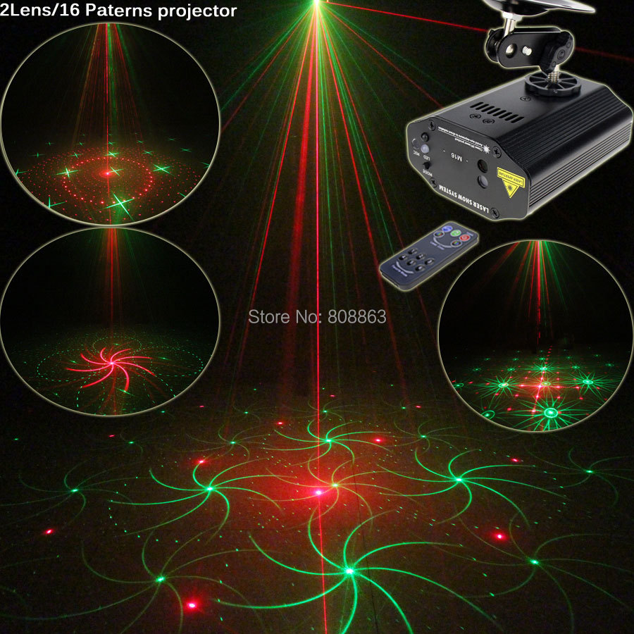 New High Quality Mini R&G Laser 16 Patterns Projector Dance Disco Bar Xmas Home Party Stage Lights DJ Lighting Light Show T12 new mini 4in1 patterns sunflower whirlwind r