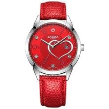 CASIMA marque de luxe montres femmes mode beauté cristal table casual femme bracelet à quartz montre en cuir bande imperméable à l'eau #2601