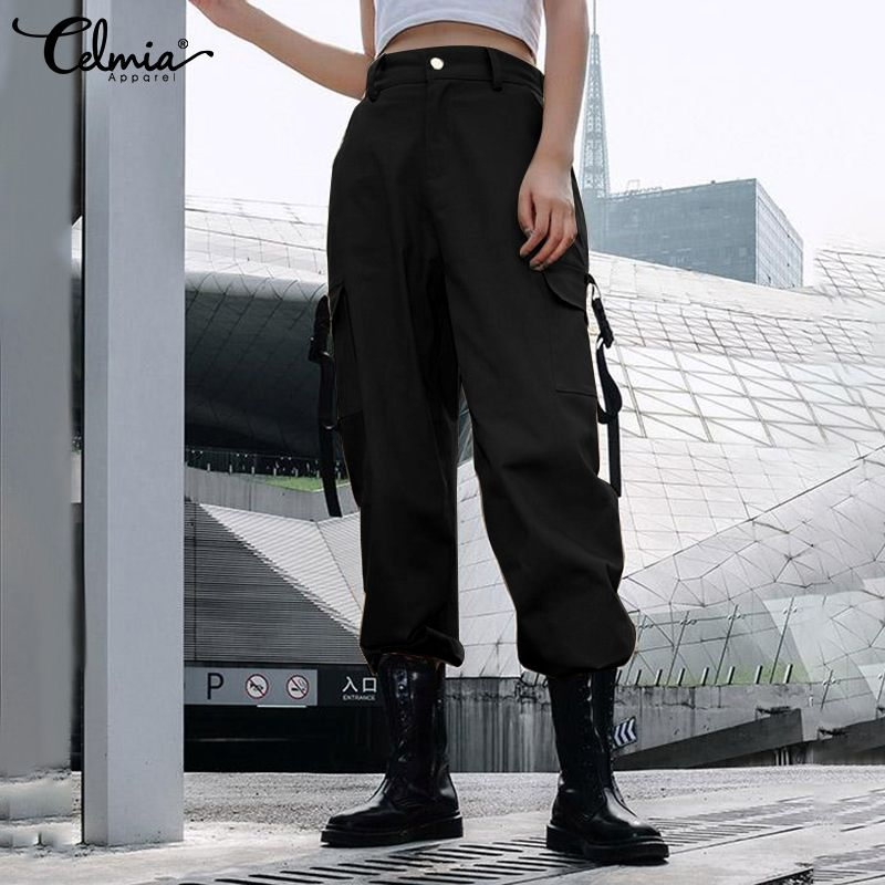 Celmia Streetwear Cargo   Pants   For Women Casual Joggers High Waist Loose Female Trouser Korean Style Ladies   Pants     Capri   Plus Size