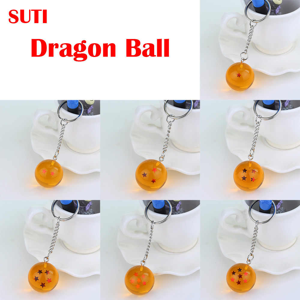 1 PCS Dos Desenhos Animados anime Dragon Ball Z DBZ Chaveiro Criança cosplay 7 Dragonball Z Estrelas Crystal Ball Chaveiros PVC Pingente chave titular