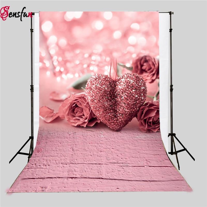 Sensfun Photographic Background Pink Wooden Heart Pattern Newborn Fotografica Wall Photocall For Weddings Vinyl Backdrops sensfun background for photos alice in