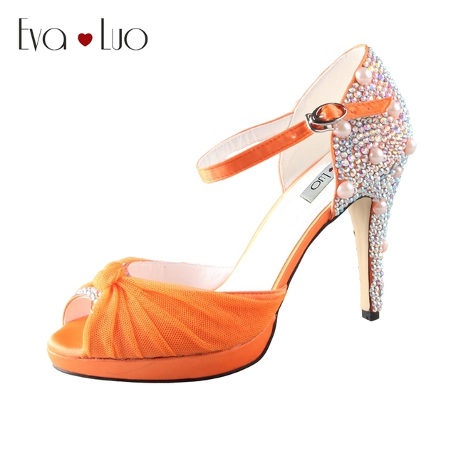 CHS503 Custom Handmade Orange Crystal Dress Sandals Bridal Wedding ...