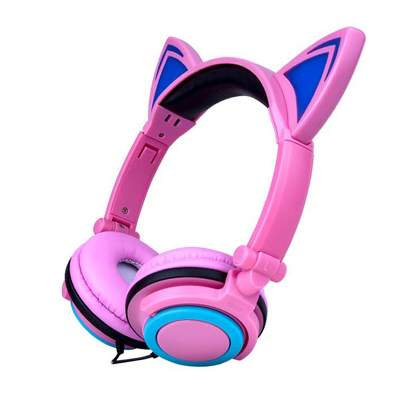 Foldable Flashing Glowing Cat Ear Headphones Gaming Headset with LED light For PC Computer Laptop Mobile Phone Bests Girl Gifts 2017 teamyo newest flashing glowing led cat ear headphones for kids children headsets for mobile phone pc laptop computer