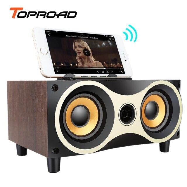 TOPROAD Portátil De Madeira Subwoofer Falante Sem Fio Bluetooth Stero Speakers Rádio FM caixa de som de Desktop para o iphone Android