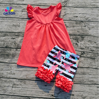 Hot Sale Boutique Knitted Summer Girls Outfit Newest Girls Cotton Spring Clothes Sets Solid Top And