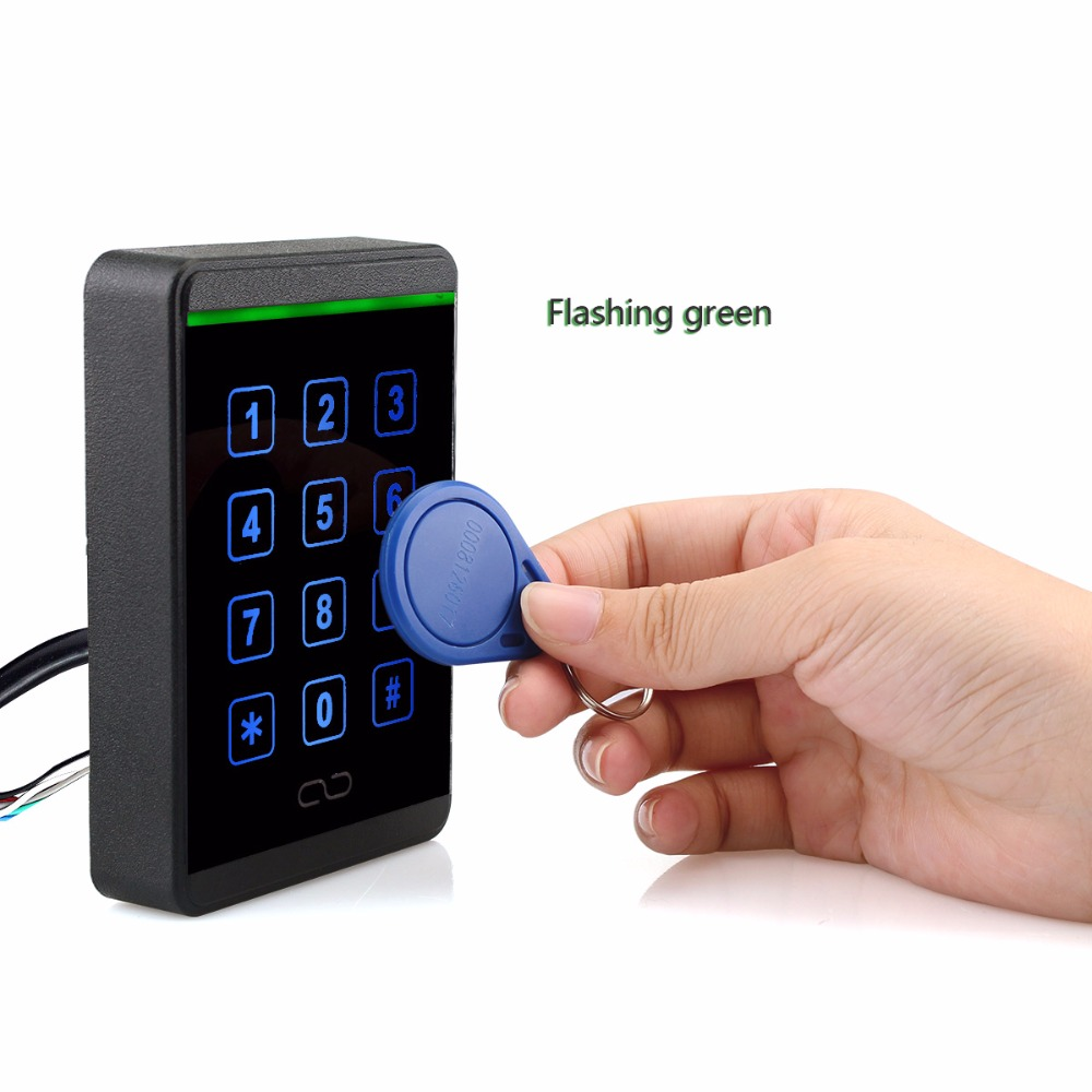 Waterproof Access Control Card Reader Touch Keypad RFID 125KHz WG26/34+125KHz Proximity ID Keyfob 20pcs For Home Security F1688A