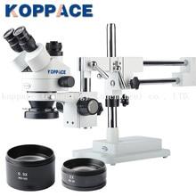 KOPPACE 3.5X-90X увеличение Тринокулярный Стерео Зум телефон ремонт микроскоп 10X окуляры включает в себя 0.5X и 2.0X цель