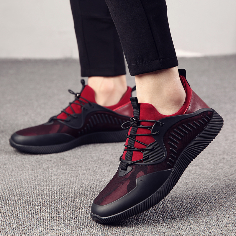 Lightweight and comfortable leather stitching European mens running sneakers breathable casual shoes