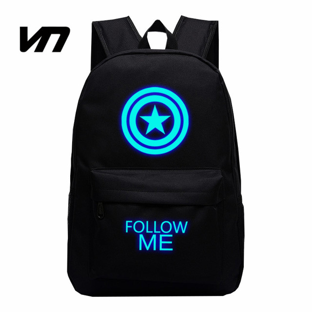 VN Brand 2016 Dwyane Avengers Captain America Shield Backpack Star Luminous Backpacks Campus Book Shoulder Bag Travel Canvas Bag