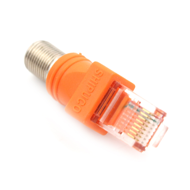 1Pcs F-Type Connector RF Female To RJ45 Male Coaxial Barrel Coupler Adapter Coax Adapter, RJ45 To RF Connector