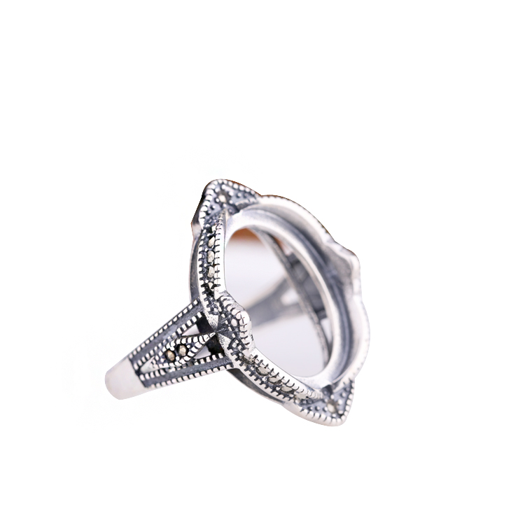 Antique Vintage 925 Sterling Silver Engagement Wedding Ring for Women 13x16mm Oval Cabochon Semi mount Ring DIY Stone