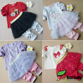 Spring Autumn Baby Girl Clothes Sets Newborn Infant Cotton Bebes Suits Casual T-shirt + Skirt Leggings Clothing Sets