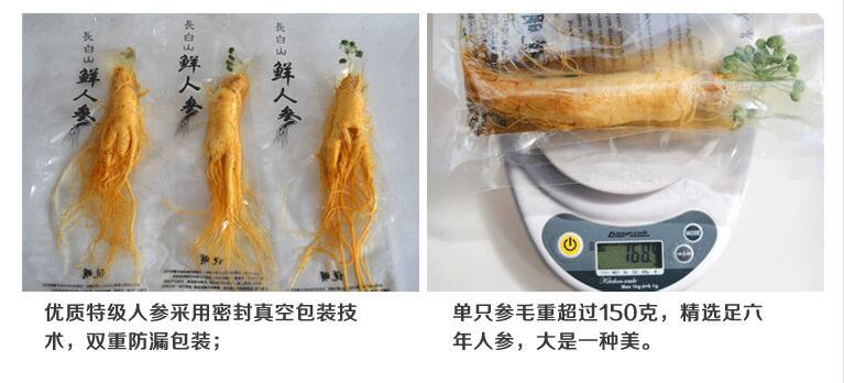 Changbai Fresh Ginseng Root 150g top Grade Vacuum Pack Panax ginseng Root 8 Years Old Herbal skin care beauty use 2