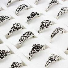 20 części/partia Mix kształt losowy rozmiar kwiat urok antyczne posrebrzane oświadczenie Trendy mały Vintage pierścień dla kobiet i mężczyzn