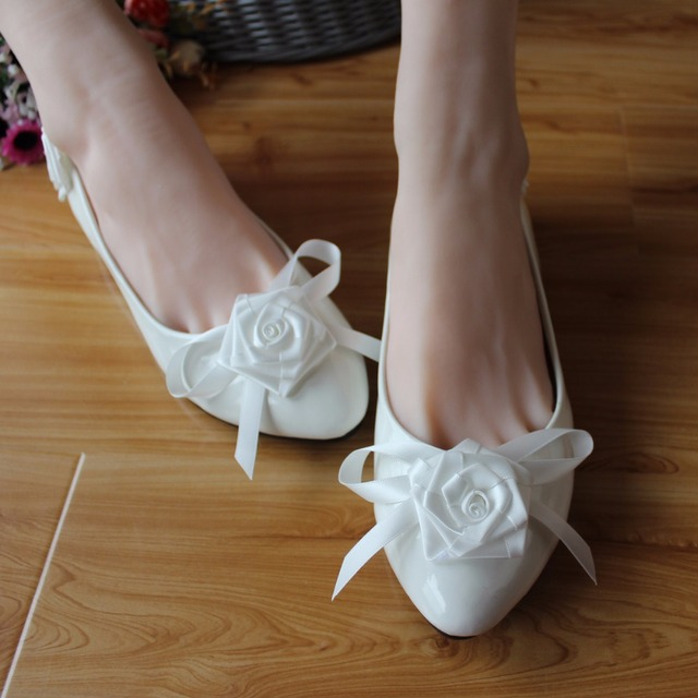 2017 Pretty Handmade Wedding Shoes Red Bow Flat Rose Bridal Low Heeled Single