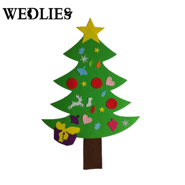 110cm felt non woven diy christmas tree door wall hanging ornaments kids toys gifts christmas - Christmas Wall Hanging Decorations