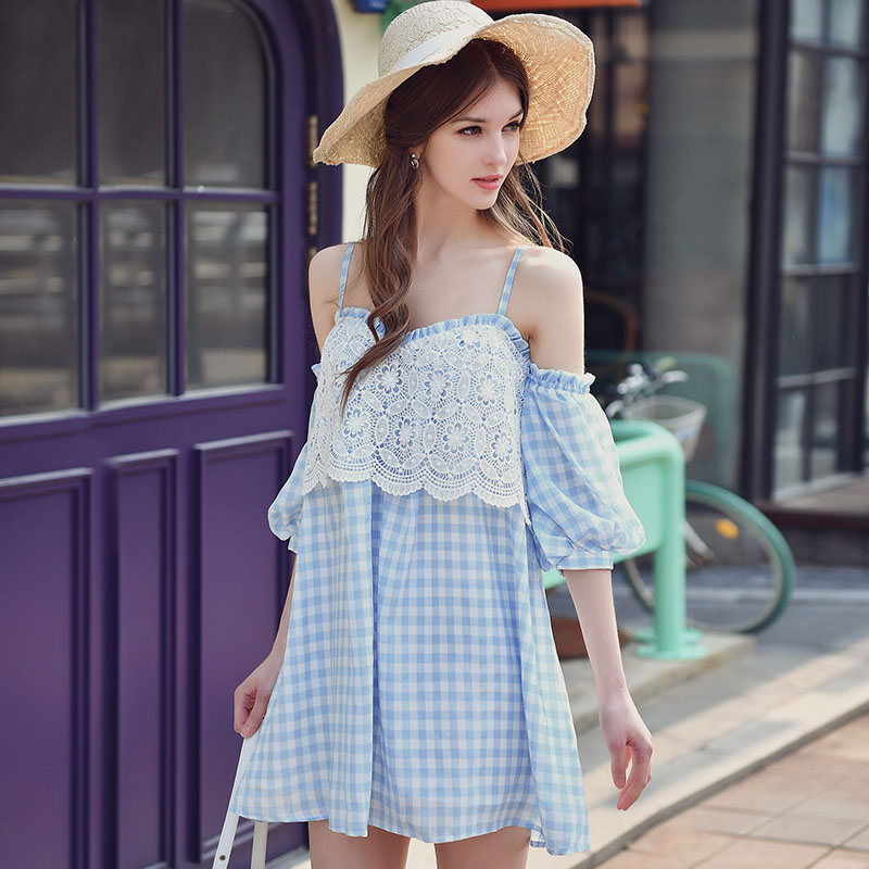 Aliexpress.com  Buy Dabuwawa Summer Dress 2017 New Off The Shoulder Lantern Sleeve Korean ...