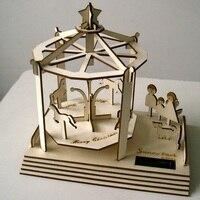 En bois Solaire Merry-Go-Round Toupie Jouet pour Ami Enfants Enfants Meilleur Cadeau Présent Cadeau De Noël Jouet