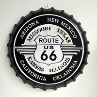 Tin Sign ROUTE US 66 Vintage Metal Painting Beer Cover Cafe Bar Hanging Ornaments Wallpaper Decor Plates Retro Mural