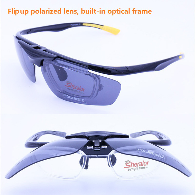 eaf0e71e7f1 sports flip up polarized sunglasses 4 degrees bending UV400 anti slip  cycling sporting glasses with prescription inner lenses-in Prescription  Glasses from ...