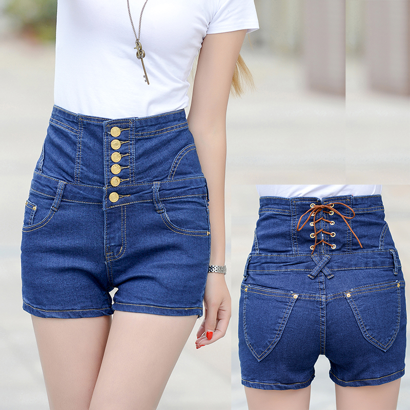 Fashion 90s Girls High Waisted Denim Shorts For Women 2015 Summer