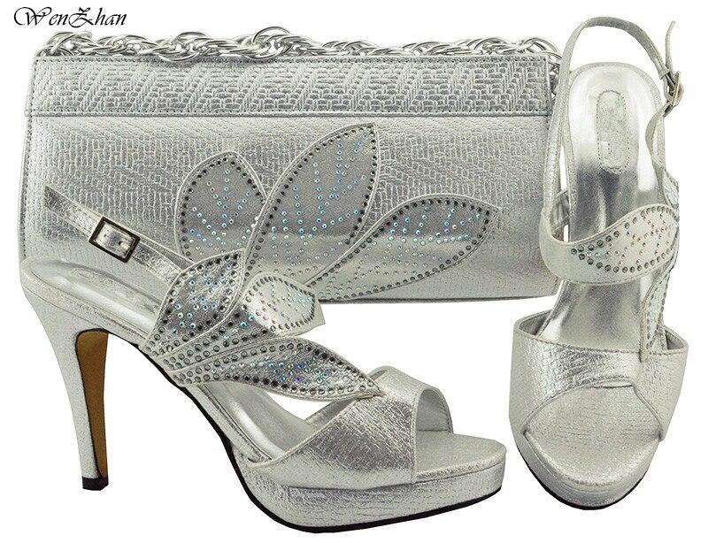 Frauen Party Schuhe und Tasche Set Verziert mit blatt Verkäufe In Frauen Splitter Passenden Schuhe und Tasche Set hohe ferse schuh WENZHAN B86 12