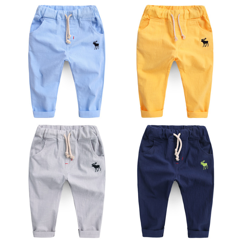 Boy Autumn Pant Kids Trousers Clothing Children Baby Legging Thin Cotton Linen Hot 2018 Summer Fashion New Embroidery Deer