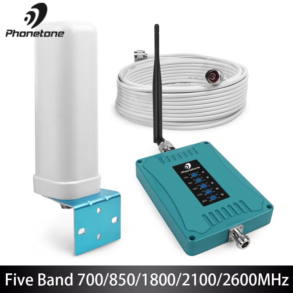 Amplificateur de Signal Mobile GSM à cinq bandes amplificateur 2G 3G 4G lte 700/850/1800/2100/2600 MHz répéteur cellulaire Booster 70dB pour Office @
