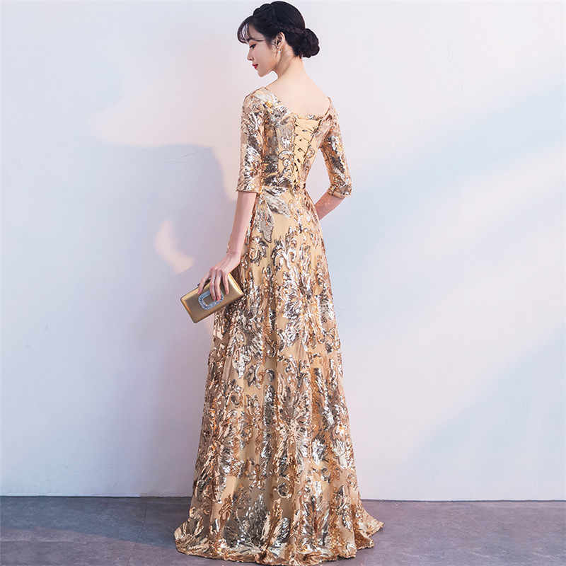 02bb85f92c ... Party Dress Women Golden Plus Size Floor-Length Winter Dresses 2018  Autumn New Print Beading ...