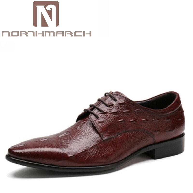 NORTHMARCH Men Shoes Height Increase Crocodile Leather Fashion Business Men Dress Shoes Lace Up Message Derby Shoes Black
