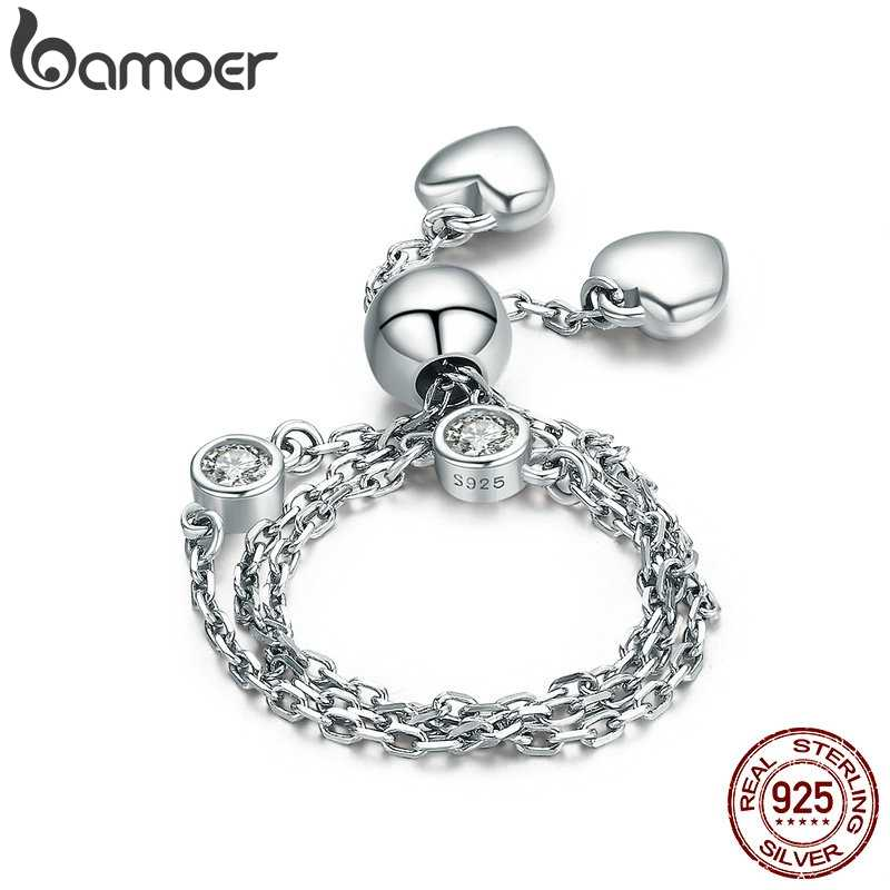 BAMOER New Arrival Real 925 Sterling Silver Glittering Pave Heart CZ Bracelet Adjustable Link Chain Bracelets Jewelry SCB032