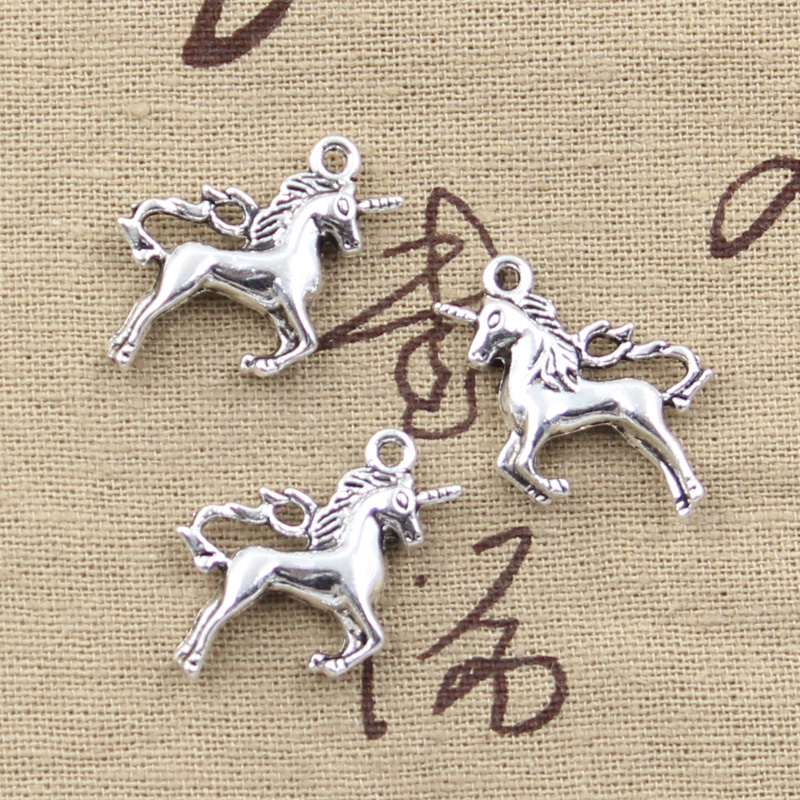 Charms Jewelry Horse-Unicorn Pendants-Making Tibetan Silver Antique Handmade Silver-Plated title=