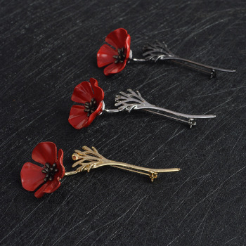 3D Vintage Red Poppy Flower Squid Brooch Pin Collar Corsage Gold Silver Black Pins