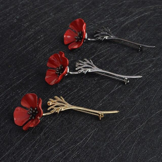 3D Vintage Poppy Bunga Merah Cumi Bros Pin Kerah Korsase Emas Perak Hitam Pin Kemeja Lencana Vintage Perhiasan Hadiah untuk wanita