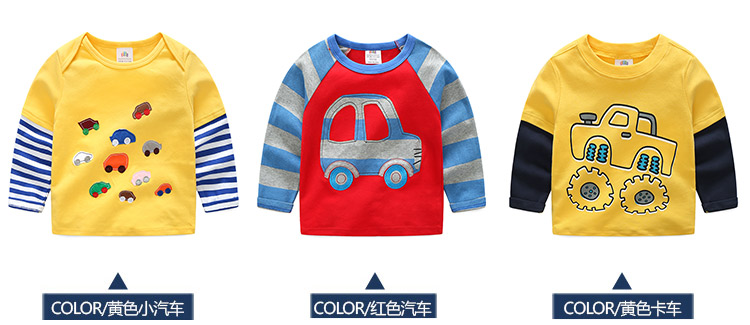 2018 Spring Autumn For 2-9 10 Years Children Cotton Striped Patchwork Cartoon Car Bus Truck Baby Kids Boys Long Sleeve T Shirts (9)