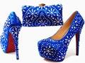 Por Encargo de La Manera Rhinestones Winered Zapatos A Juego Y Conjunto de Bolsas de Las Mujeres Zapatos de La Boda Y de Noche Bolsas G14
